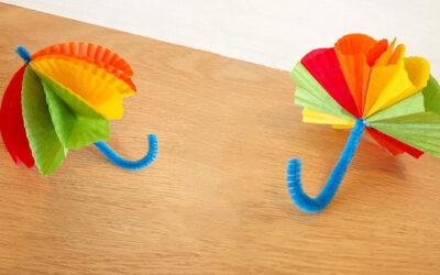 מטריה צבעונית לחורף · יצירה עם ניירות קאפקייקס